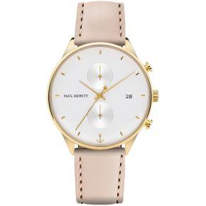 Montre chrono white sand or cuir hazelnut