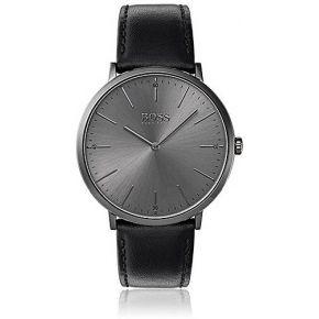 Montre plaquée grise à cadran minimaliste et...