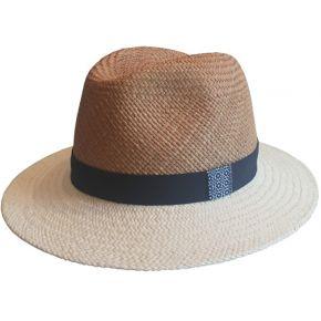 Chapeau panama en paille bicolore beige & blanc...
